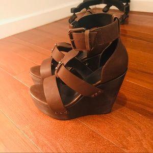 All Saints Olive Wedge Sandals